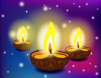 Diwali festival with beautiful lamps. Stock Photos