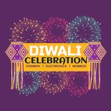 Diwali festival celebration banner with fireworks and hanging la. Mps on purple background Stock Images