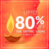 Diwali festival dicount and offer banner with diya on orange wat. Ercolor background Royalty Free Stock Photos