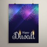 Diwali festival fireworks in blue night sky flyer design templat. E Stock Photos