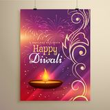 Diwali festival flyer design in beautiful colors with floral dec Stock Images