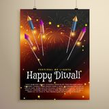 Diwali festival flyer template with flying rocket crackers and f. Ireworks Stock Image