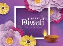 Happy Diwali. Diwali festival greeting card with beautiful blossom flower and Diwali diya oil lamp stock illustration