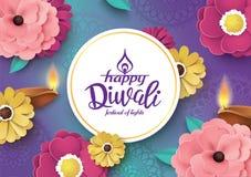 Happy Diwali. Diwali festival greeting card with beautiful blossom flower and Diwali diya oil lamp royalty free illustration