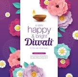 Happy Diwali. Diwali festival greeting card with beautiful blossom flower and Diwali diya oil lamp vector illustration