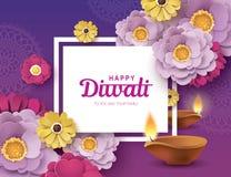 Happy Diwali. Diwali festival greeting card with beautiful blossom flowers and Diwali diya oil lamp stock illustration