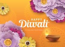 Happy Diwali. Diwali festival greeting card with beautiful blossom flowers and Diwali diya oil lamp vector illustration