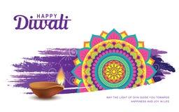 Happy Diwali. Diwali festival greeting card with colorful rangoli and diya lamp vector illustration