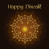 Diwali festival greeting card with gold glitter texture and mandala Stock Photo