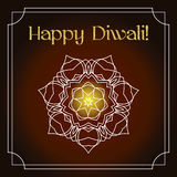 Diwali festival greeting card with gold glitter texture and mandala Stock Photos