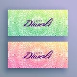 Diwali festival greeting card with mandala decoration. Vector Stock Photography