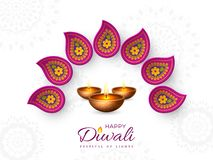 Diwali festival holiday design with paper cut style of Indian Rangoli and diya - oil lamp. Purple color on white. Background. Vector illustration royalty free illustration