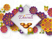 Diwali festival holiday design with paper cut style of Indian Rangoli, flowers and diya - oil lamp. White color. Background. Vector illustration stock illustration
