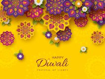 Diwali festival holiday design with paper cut style of Indian Rangoli and flowers. Purple, violet colors on yellow background, vec. Diwali festival holiday vector illustration