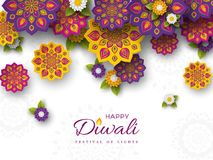 Diwali festival holiday design with paper cut style of Indian Rangoli and flowers. Purple, violet, yellow colors on white backgrou. Nd. Vector illustration vector illustration