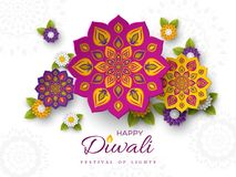 Diwali festival holiday design with paper cut style of Indian Rangoli and flowers. Purple, violet, yellow colors on. White background. Vector illustration vector illustration