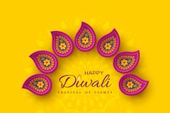 Diwali festival holiday design with paper cut style of Indian Rangoli. Purple color on yellow background, illustration. Diwali festival holiday design with royalty free illustration