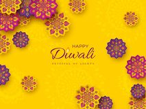 Diwali festival holiday design with paper cut style of Indian Rangoli. Purple, violet color on yellow background, vector. Diwali festival holiday design with vector illustration