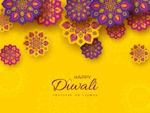 Diwali festival holiday design with paper cut style of Indian Rangoli. Purple, violet color on yellow background, illustrat. Diwali festival holiday design with stock illustration