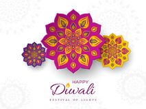Diwali festival holiday design with paper cut style of Indian Rangoli. Purple, violet, yellow color on white background, il. Diwali festival holiday design with stock illustration
