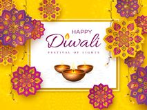 Diwali festival holiday design with rangoli. Diwali festival holiday design with paper cut style of Indian Rangoli, garland and diya - oil lamp. Purple color on