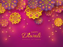 Diwali festival holiday design with rangoli. Diwali festival holiday design with paper cut style of Indian Rangoli and garlands. Purple color background. Vector royalty free illustration
