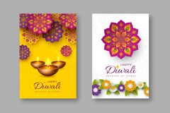 Diwali festival holiday posters with paper cut style of Indian Rangoli, flowers and diya - oil lamp. Yellow and white. Color background. Vector illustration royalty free illustration