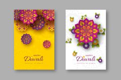 Diwali festival holiday posters with paper cut style of Indian Rangoli and flowers. Purple, violet colors on white and. Yellow background. Vector illustration vector illustration