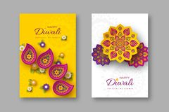 Diwali festival holiday posters with paper cut style of Indian Rangoli and flowers. Purple, violet colors on white and. Yellow background. Vector illustration stock illustration