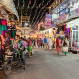 Diwali festival, India. RISHIKESH, INDIA - NOVEMBER 08, 2015: Street on Diwali festival. Diwali (Festival of Lights) is an ancient Hindu festival celebrated in Royalty Free Stock Photos