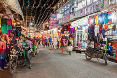 Diwali festival, India. RISHIKESH, INDIA - NOVEMBER 08, 2015: Street on Diwali festival. Diwali (Festival of Lights) is an ancient Hindu festival celebrated in Royalty Free Stock Photo