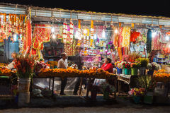 Diwali festival, India. RISHIKESH, INDIA - NOVEMBER 08, 2015: Street on Diwali festival. Diwali (Festival of Lights) is an ancient Hindu festival celebrated in Stock Images