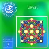 Diwali, festival indou de Deepavali 7 novembre Ornement traditionnel de rangoli avec des lumières Calendrier de série Vacances au illustration stock