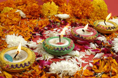 Diwali, Festival of lights. Beautiful traditional lamps lit up for prayer on the occassion of Diwali festival in India