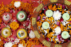 Diwali, festival of lights. Diwali decoration with colorful lamps, Diwali is traditional and most celebrated festival in India Royalty Free Stock Photography