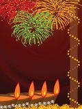 Diwali, The Festival of Lights. Illustration of arranged row of lamps and fire works on the eve of Hindu festival Diwali