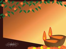 Diwali, The Festival of Lights. Illustration of arranged row of lamps and fire works on the eve of Hindu festival Diwali Stock Photos