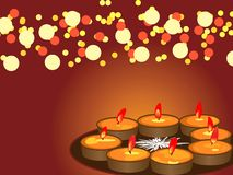 Diwali, The Festival of Lights. Illustration of arranged row of lamps on the eve of Hindu festival Diwali