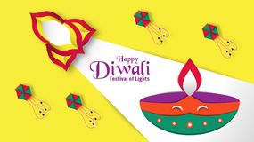 Diwali is festival of lights of Hindu for invitation background, web banner, advertisement. Vector illustration design in paper c. Ut and craft style vector illustration
