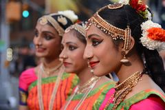 Diwali festival trio. Diwali festival of lights 2017 young ladies in New York City