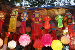 Diwali festival in Mumbai, India. Traditional lantern close ups on street side shops on the occasion of Diwali festival in Mumbai, India stock photography