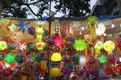 Diwali festival in Mumbai, India. Traditional lantern close ups on street side shops on the occasion of Diwali festival in Mumbai, India Royalty Free Stock Photo