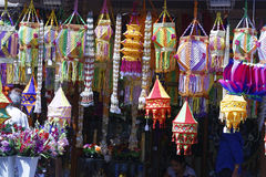 Diwali festival in Mumbai, India. Traditional lantern close ups on street side shops on the occasion of Diwali festival in Mumbai, India Stock Image