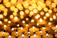 Free Diwali Festival Of Lights. Beautiful Candlelight. Selective Focus On Foreground Of Many Burning Tealight Candles. Stock Images - 101655804