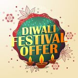 Diwali festival offer with beautiful decoration and three diyas. Vector Stock Images