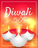 Diwali Festival Offer Poster Design Template with Creative Lamps. Vector illustration Royalty Free Stock Images