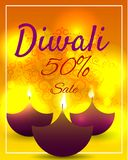 Diwali Festival Offer Poster Design Template with Creative Lamps. Vector illustration Stock Images