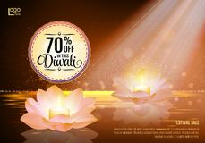 Diwali Festival Offer Poster Design Template with Lotus water lanterns. And fireworks. Brown Stock Photo