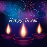Diwali Festival Poster Design Template. Festival of Lights, Happy Diwali Celebration. Elegant Traditional  Lamps and fireworks on background Stock Photo