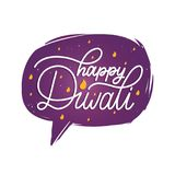 Diwali festival poster with hand lettering in speech bubble. Vector illustration of Indian holiday greeting card. Royalty Free Stock Photography